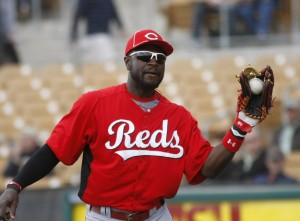 March 19, 2012; Glendale, AZ, USA; Cincinnati Reds second baseman Brandon Phillips (4) against the Chicago White Sox at Glendale Ranch. Mandatory Credit: Rick Scuteri-US PRESSWIRE