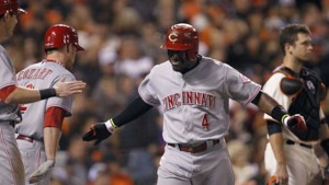 Brandon Phillips hits a single to center field to knock in Billy Hamilton with the game's first run in the 6th inning.