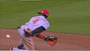 Brandon Phillips starts a double play with a behind-the-back flip to shortstop Eugenio Suarez.
