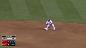 With runners on the corners, Brandon Phillips starts a 4-6-3 double play to end the top of the 6th inning