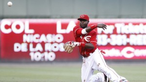 Brandon Phillips makes a diving stop on Jarrod Saltalamacchia's grounder, then throws to first to complete the play.