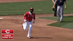 Brandon Phillips connects for his 11th home run of the season, a two-run tater to left that gives the Reds a 3-0 lead