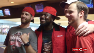 Brandon Phillips and his teammates get together for a night of bowling with fans, benefitting the Reds Community Fund.